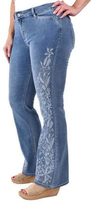 True Blue Embroidered Boot-Cut Jean