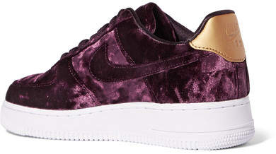 100% authentic 38ea4 5639e Nike - Air Force 1 Metallic Faux Leather-trimmed Crushed-velvet Sneakers -  Purple