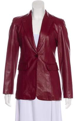 DKNY Leather Notched-Lapel Blazer