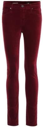 AG Jeans The Farrah high-waisted velvet skinny jeans