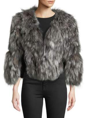 Adrienne Landau Fox Fur Jacket w/ Leather Inserts