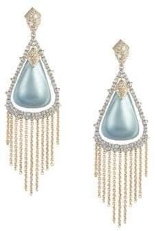 Alexis Bittar Swarovski Crystal Capped Tassel Chain Post Earrings