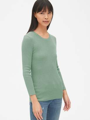 Gap Ribbed Three-Quarter Sleeve Crewneck Pullover Sweater