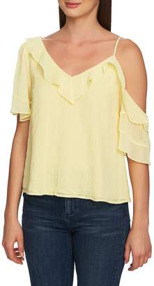 1 STATE 1.STATE Ruffle One-Shoulder Embroidered Top