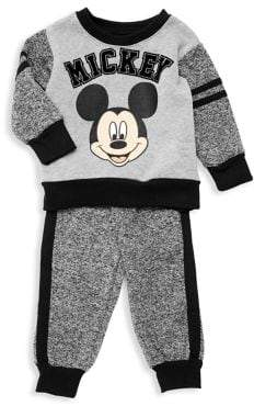Nannette Baby Boy's Two-Piece Mickey Mouse Marled Stripe Pajamas Set