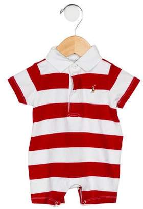 Ralph Lauren Boys' Short Sleeve Striped All-In-One