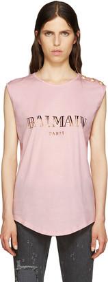 Balmain Pink Logo T-Shirt $280 thestylecure.com