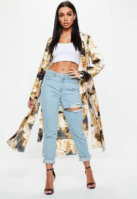 Missguided Yellow Chain Print Duster Jacket