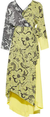 Diane von Furstenberg - Printed Silk Crepe De Chine Wrap Dress - Pastel yellow