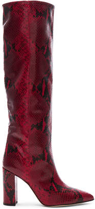 Paris Texas Knee High Boot in Red Snake   FWRD