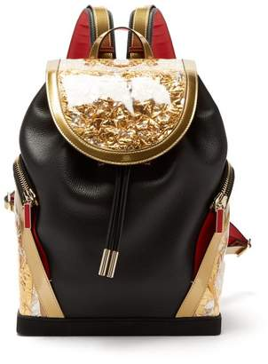 Christian Louboutin Explorafunk Contrast Panel Leather Backpack - Mens - Black Gold