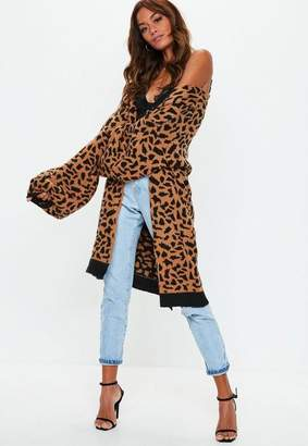 Missguided Orange Animal Print Knit Cardigan