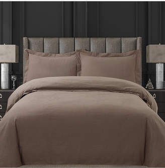 Tribeca Living Cotton Flannel Solid Oversized King Duvet Set Bedding