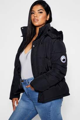 boohoo Plus Hooded Zip Through Puffer Jacket
