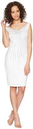 Calvin Klein Off Shoulder Embellished Scuba Sheath Dress CD8M15LH Women's Dress