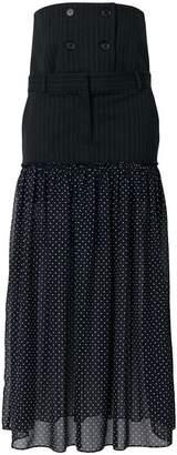 Rokh pinstripe and polka dot maxi skirt