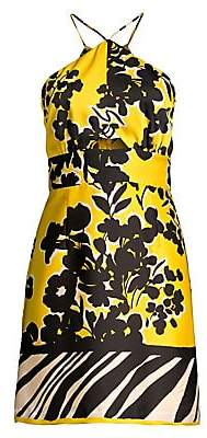 Milly Women's Jungle Floral Halterneck Mini Dress - Size 0