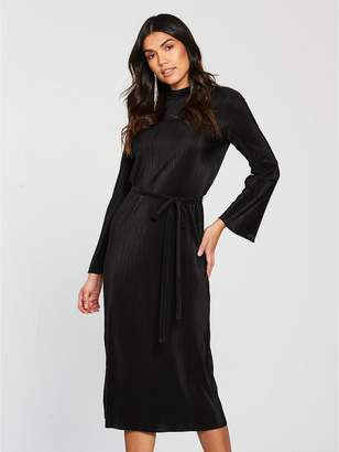 Very Pleated Jersey Midi Dress - Black