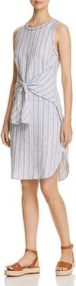 Three Dots Striped Linen Tie-Front Dress