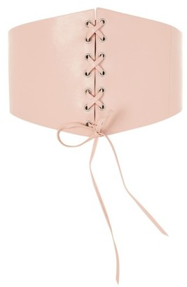 Topshop Women's Lace-Up Faux Leather Corset