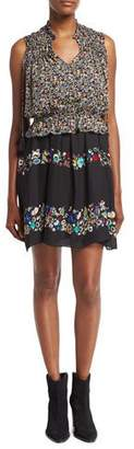 Derek Lam 10 Crosby 2-in-1 Floral Chiffon Mini Dress, Black
