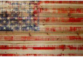 Marmont Hill 'American Flag' Painting Print on Natural Pine Wood