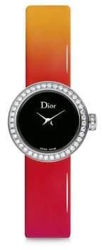 Christian Dior La Mini D de Diamond, Stainless Steel & Gradient Patent Leather Strap Watch