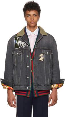 Gucci Black Logo Patch Denim Jacket