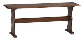 Linon Solid Pine Bench in Walnut