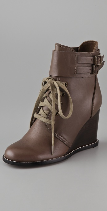 See By Chloe Lace Up Wedge Booties