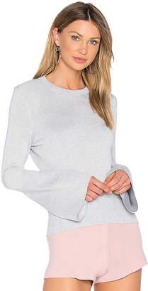 HELFRICH Janis Lurex Crew Neck Sweater in Gray $255 thestylecure.com