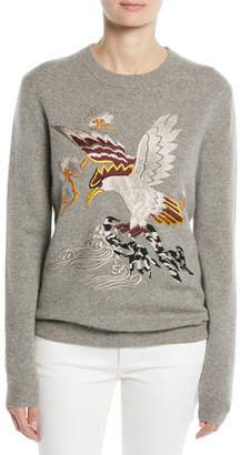 Ralph Lauren Embroidered Eagle Long-Sleeve Cashmere Sweater