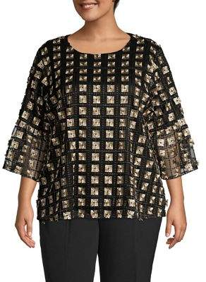 Calvin Klein Plus Embroidered Bell-Sleeve Top