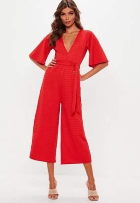 Missguided Red Stripe Plunge Kimono Culotte Romper