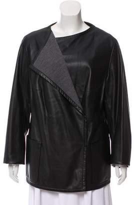 Akris Punto Long Sleeve Leather Coat
