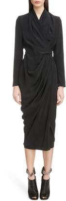 Rick Owens Draped Silk Wrap Dress