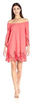 Blu Pepper Women's Off-Shoulder Crochet-Lace Trim Shift Dress