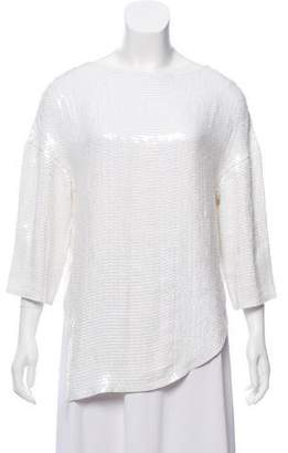 Tibi Long Sleeve Sequined Top