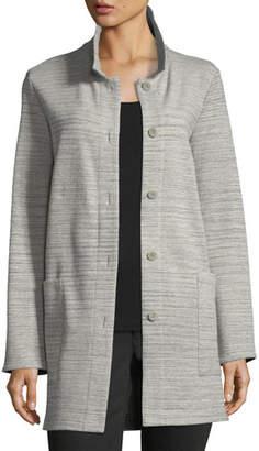 Eileen Fisher Chevron-Knit Long-Sleeve Jacket