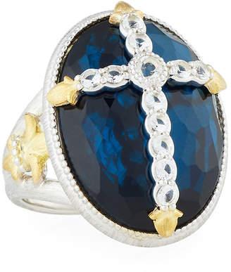 Jude Frances Oval Quartz & Pyrite Cocktail Ring w/ Pave Fleur Cross, Size 6.5