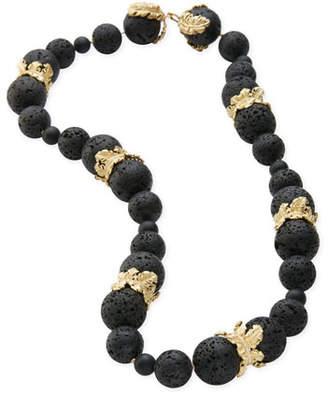 Adam Foster Fine Jewelry 18k Canary Islands Lava Beaded Plume Necklace