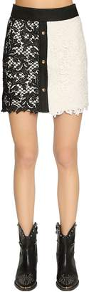 Fausto Puglisi Lace & Linen Mini Skirt