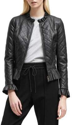 French Connection Quilted Pleated Jacket