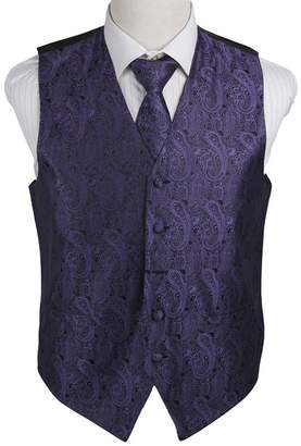 Green & Black EGD1B03A-S Silver Paisley Microfiber Mens Tuxedo Vest Neck Tie Set Inspirational For Birthday By Epoint