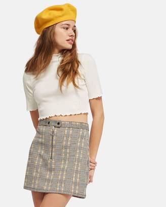 Topshop Zip Popper Checked Mini Skirt