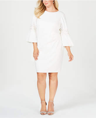 Jessica Howard Plus Size Ruched Beaded Sheath Dress