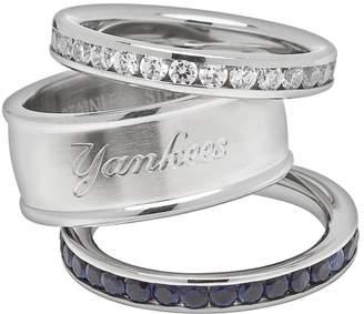 New York Yankees Logoart LogoArt Stainless Steel Crystal Stack Rings