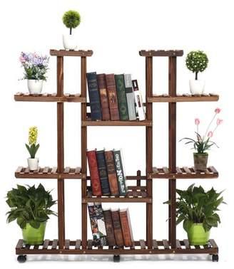 "Augienb 7 Tier Wood Plant Stand 47.2"" High Widen Carbonized 17 Potted Flower Pot Organizer Shelf Display Rack Holder for Indoor Outdoor Patio Garden Corner Balcony Living Room"
