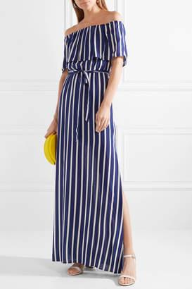 Alice + Olivia Alice Olivia - Grazi Off-the-shoulder Striped Voile Maxi Dress - Blue