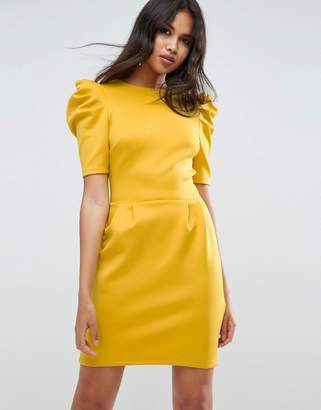 Asos Mini Dress With Ruched Shoulder
